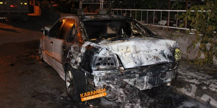 Karaman'da Ateşe Verilen Otomobil Kullanılmaz Hale Geldi