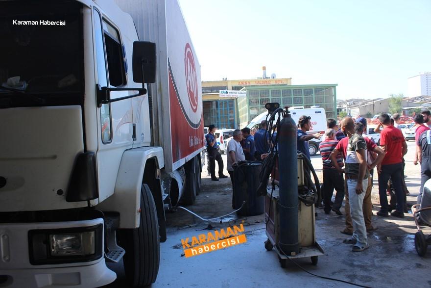 Karaman'da Kamyon Yakıt Deposu Patladı 1