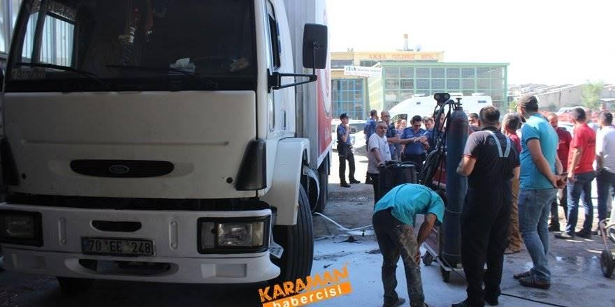 Karaman'da Kamyon Yakıt Deposu Patladı