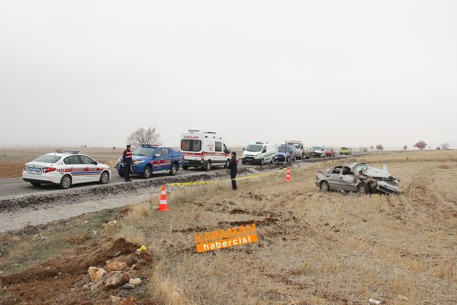 Karaman'da Trafik Kazası : 1 Ölü 1 Yaralı 5