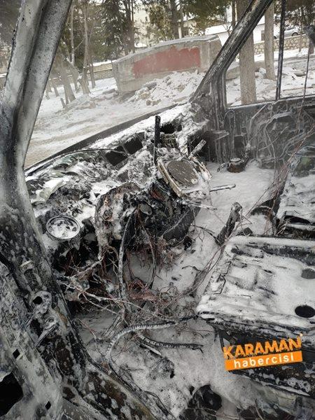 Karaman'da Araç Yangını 1