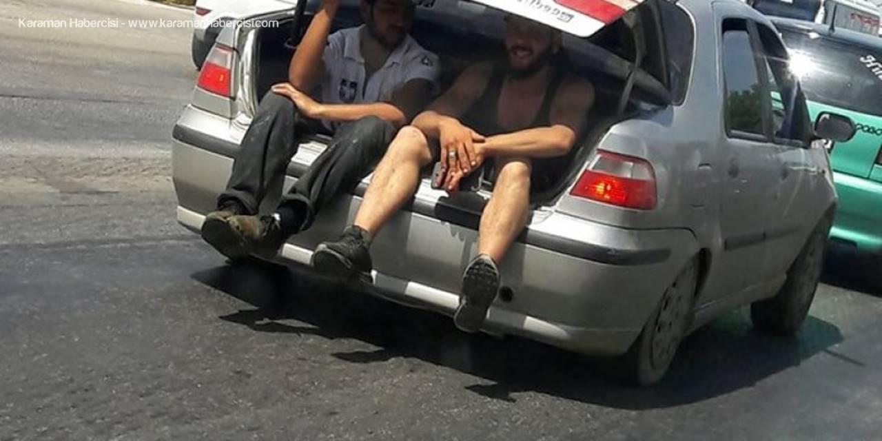 Antalya'da Otomobil Bagajında Tehlikeli Yolculuk
