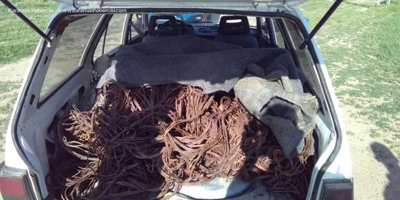 Konya'da Kovalamaca Sonucu Durdurulan Araçtan 160 Kilo Çalıntı Kablo Çıktı