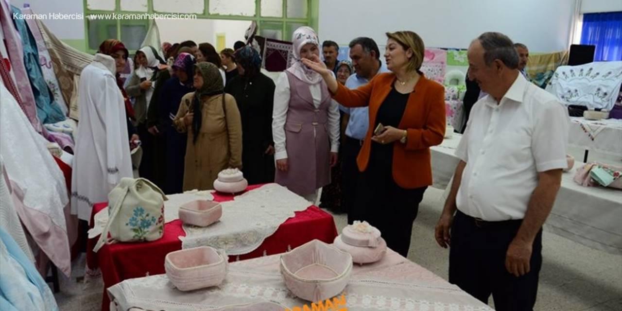 """Karaman'da """"Bir Kadın Bir İğne Ev Tekstili"""" sergisi açıldı"""