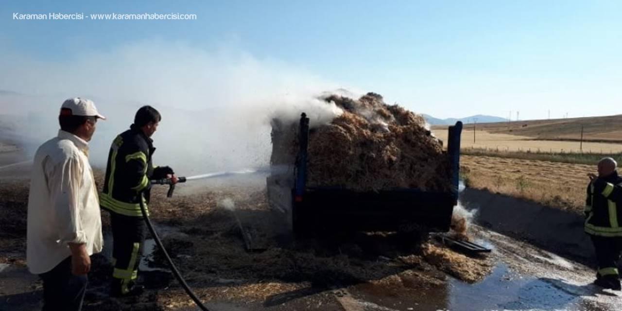Karaman'da  Seyir Halinde Traktör Römorku Yandı