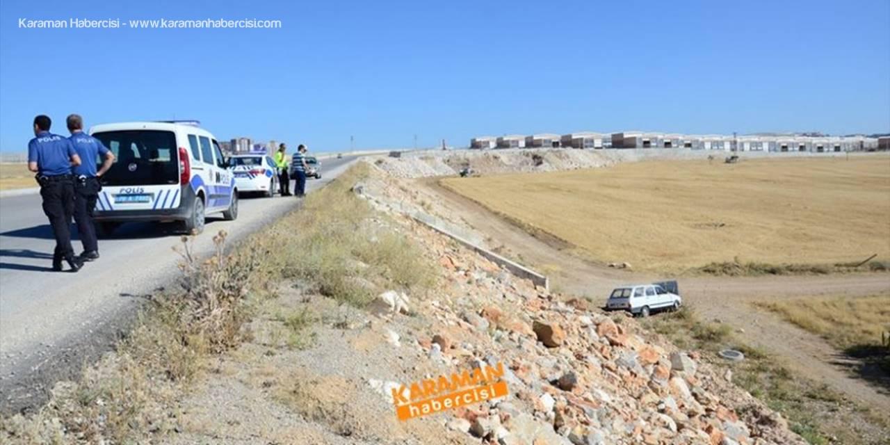 Karaman'da Yapımı Devam Çevre Yolunda Trafik Kazası