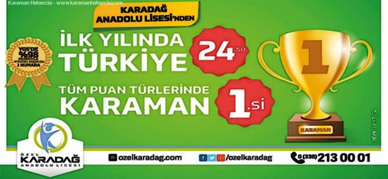 Karaman'da YGS 1.si Özel Karadağ Anadolu Lisesi'nden