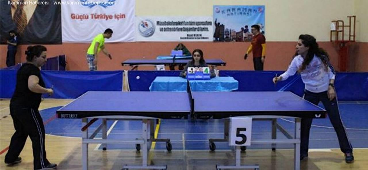 Karaman'da Kurumlar Arası Masa Tenisi Turnuvası Başladı