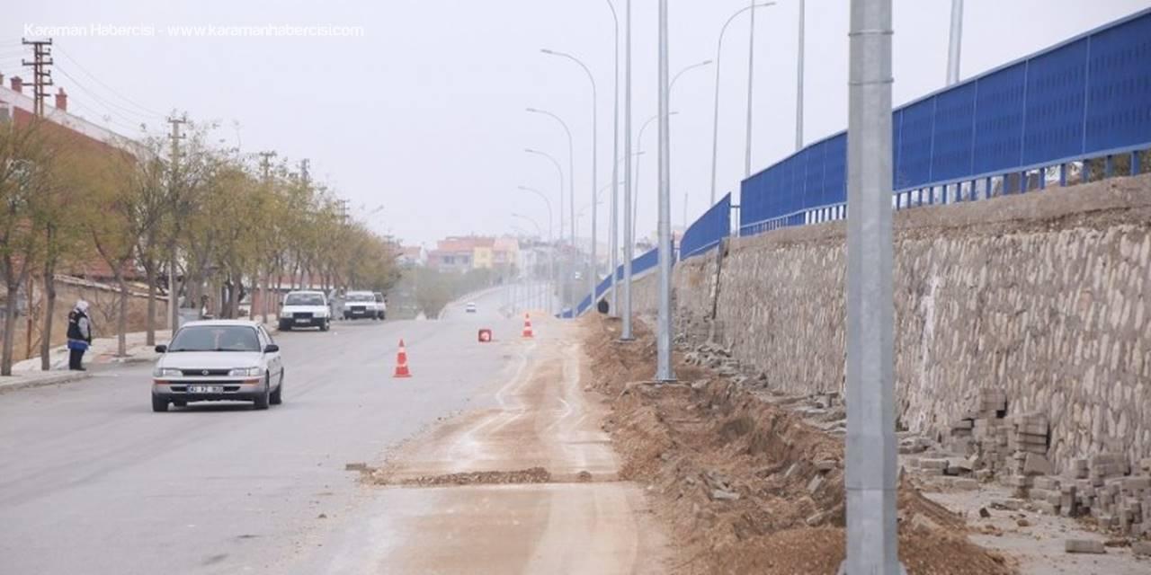 Karaman Belediyesi, Caddelerde Kaldırım Ve Peyzaj Düzenlemesi Başlattı