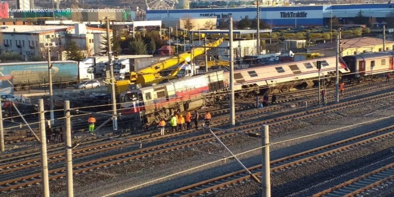 Başkent'te Tren Raydan Çıktı