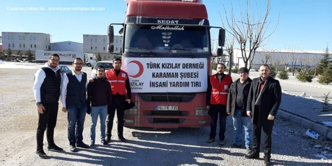 Kızılay Karaman Şubesi'nden Elazığ'a Bir Tır Dolusu Yardım