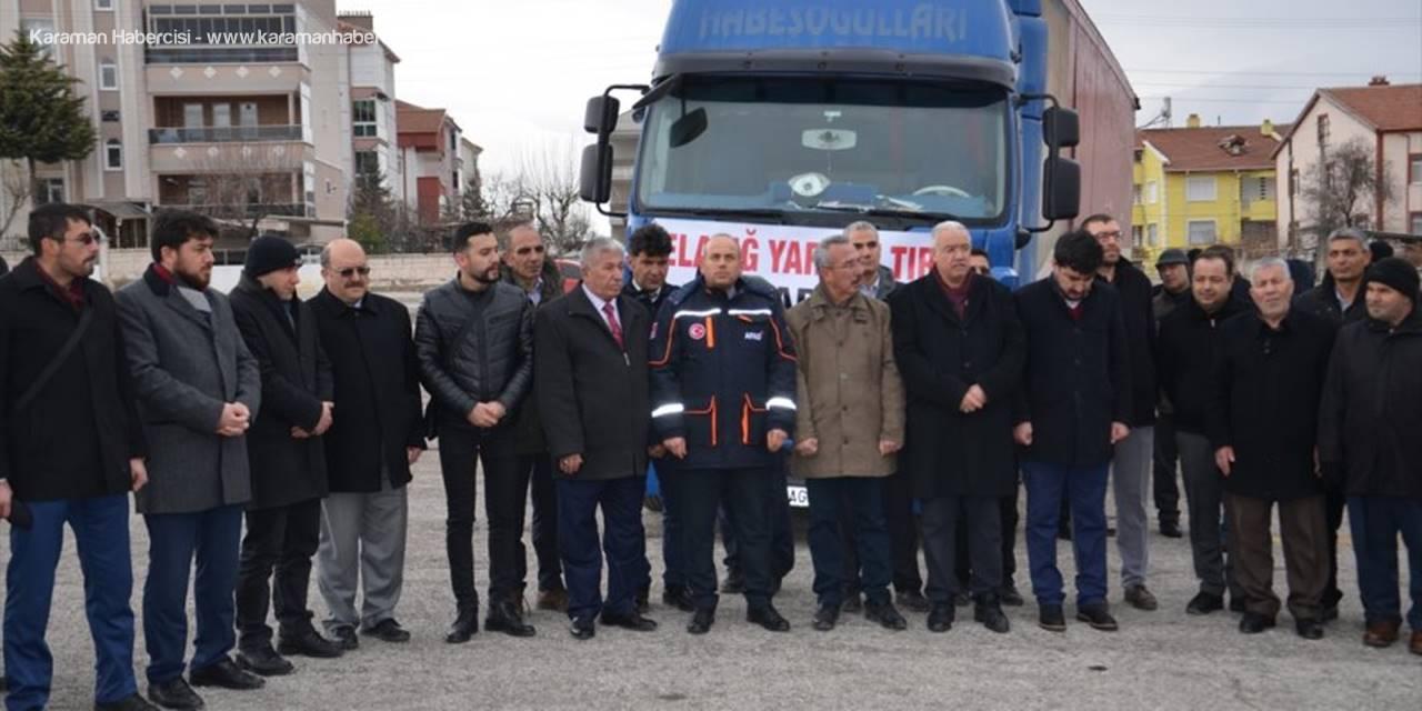 Ak Parti Karaman İl Başkanlığından Elazığ'a Yardım Tırı Gönderildi