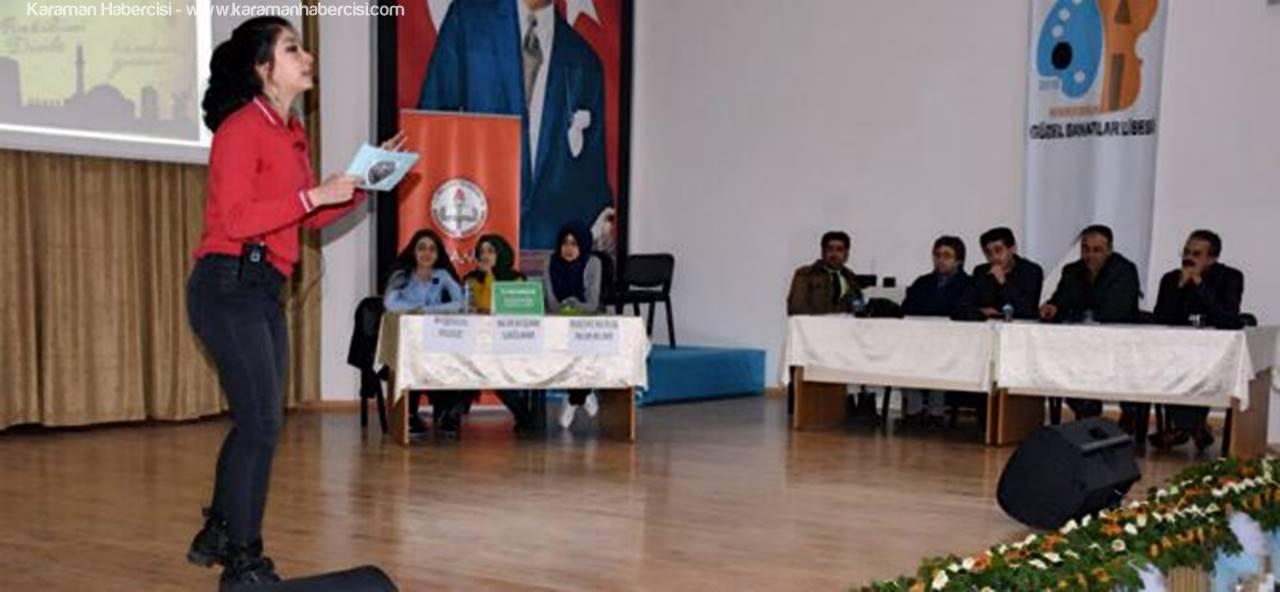Karaman'da Okullar Arası Münazara Yarışması Finali Yapıldı
