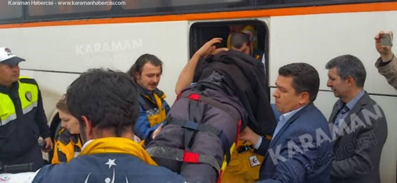 Karaman'da Fabrika Servisi Kaza Yaptı