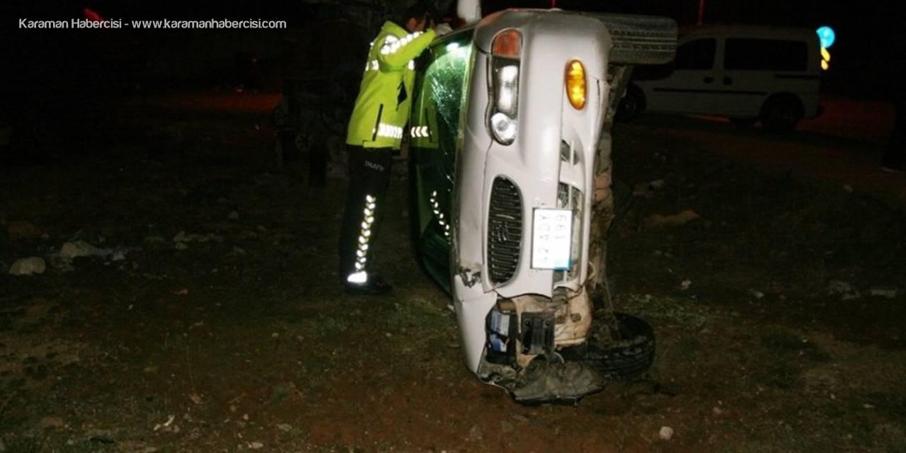 Konya'da Çukuru  Kurtaran Otomobil Şarampole Devrildi