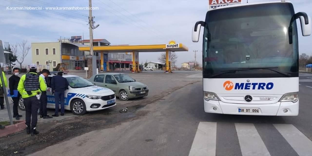 Aksaray'da Fazla Yolcu Taşıyan Otobüse Para Cezası