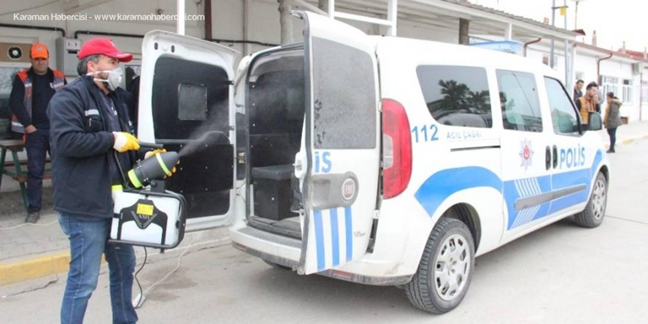 Karaman'da Ekip Otolarına Korona Virüsü Dezenfektesi