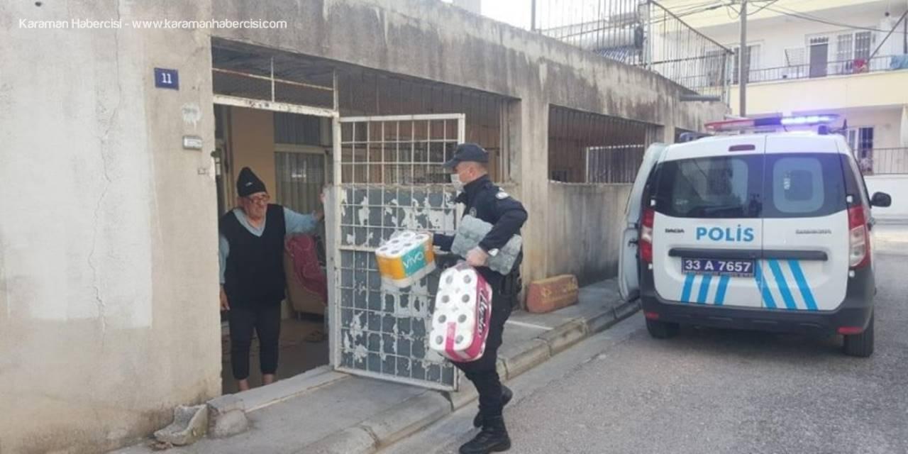 Mersin'de Evinden Çıkamayanlara Polis Desteği