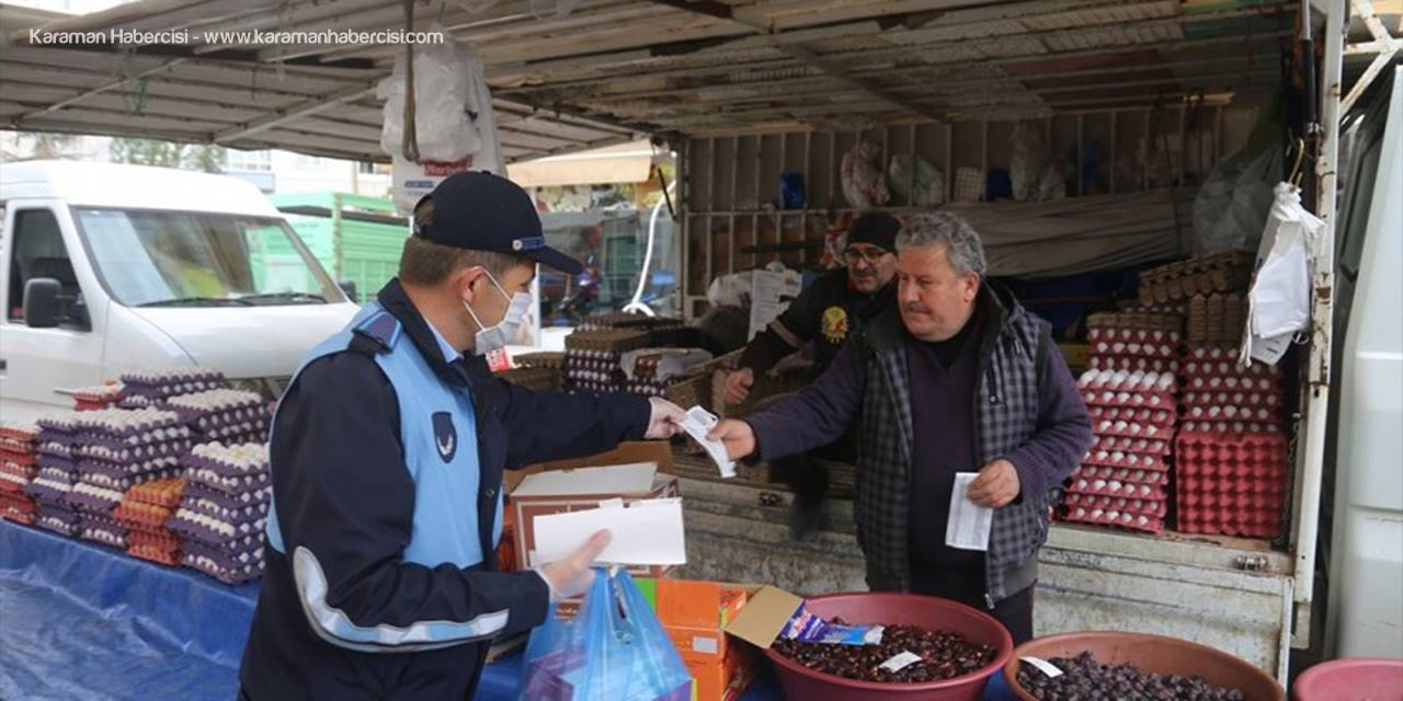 Karaman'da Pazarcı Esnafına Maske Dağıtıldı