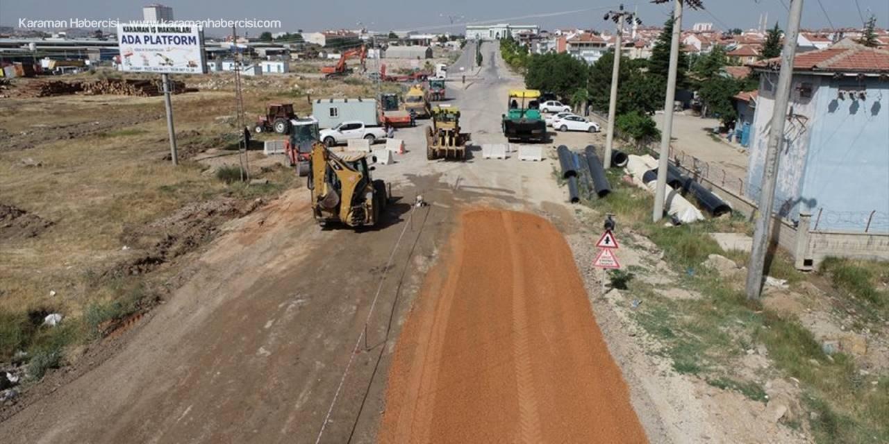 Karaman'da İkinci OSB Yolunda Asfalt Çalışması