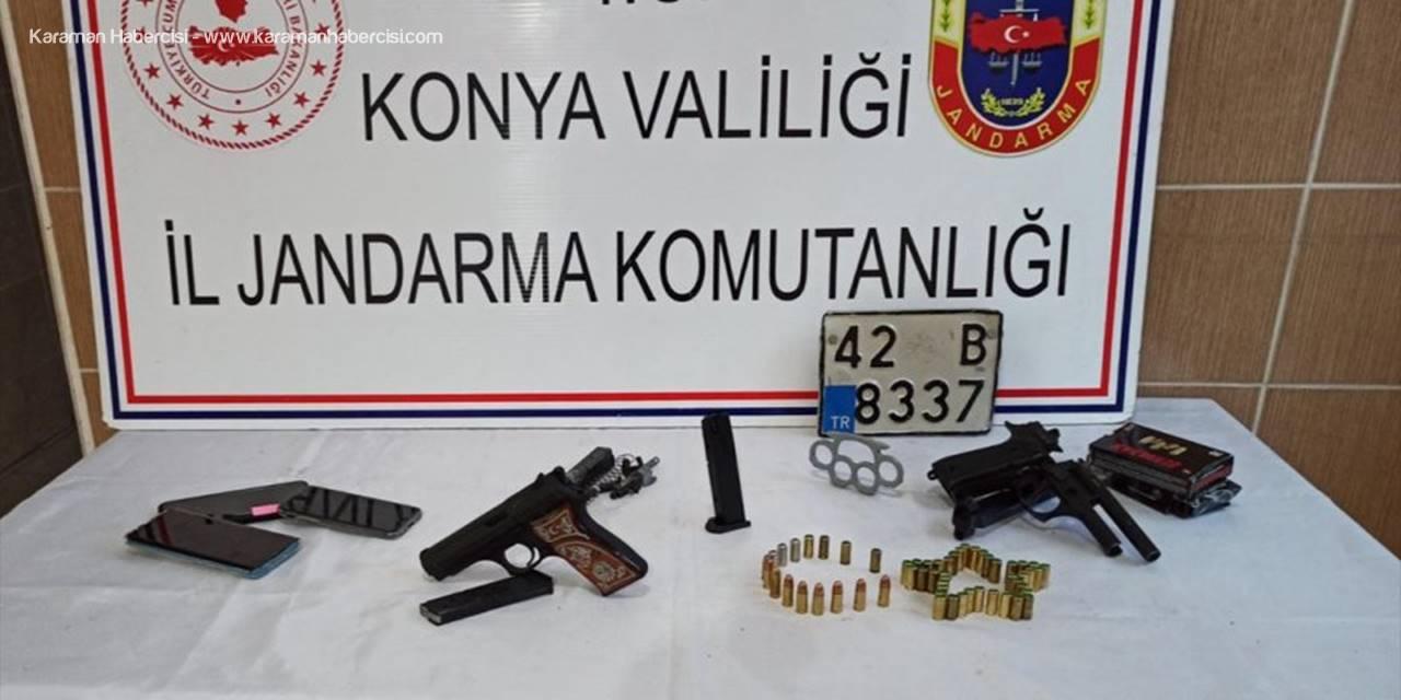 Beyşehir'de Jandarma Ekipleri Ruhsatsız Tabanca, Muşta Ve Aranan Plaka Ele Geçirdi