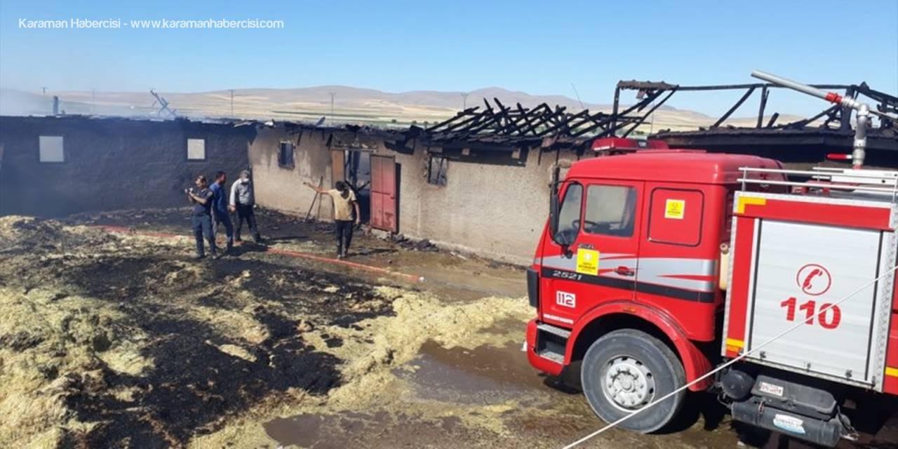 Konya'da Bir Ağılda Çıkan Yangın Zarara Yol Açtı