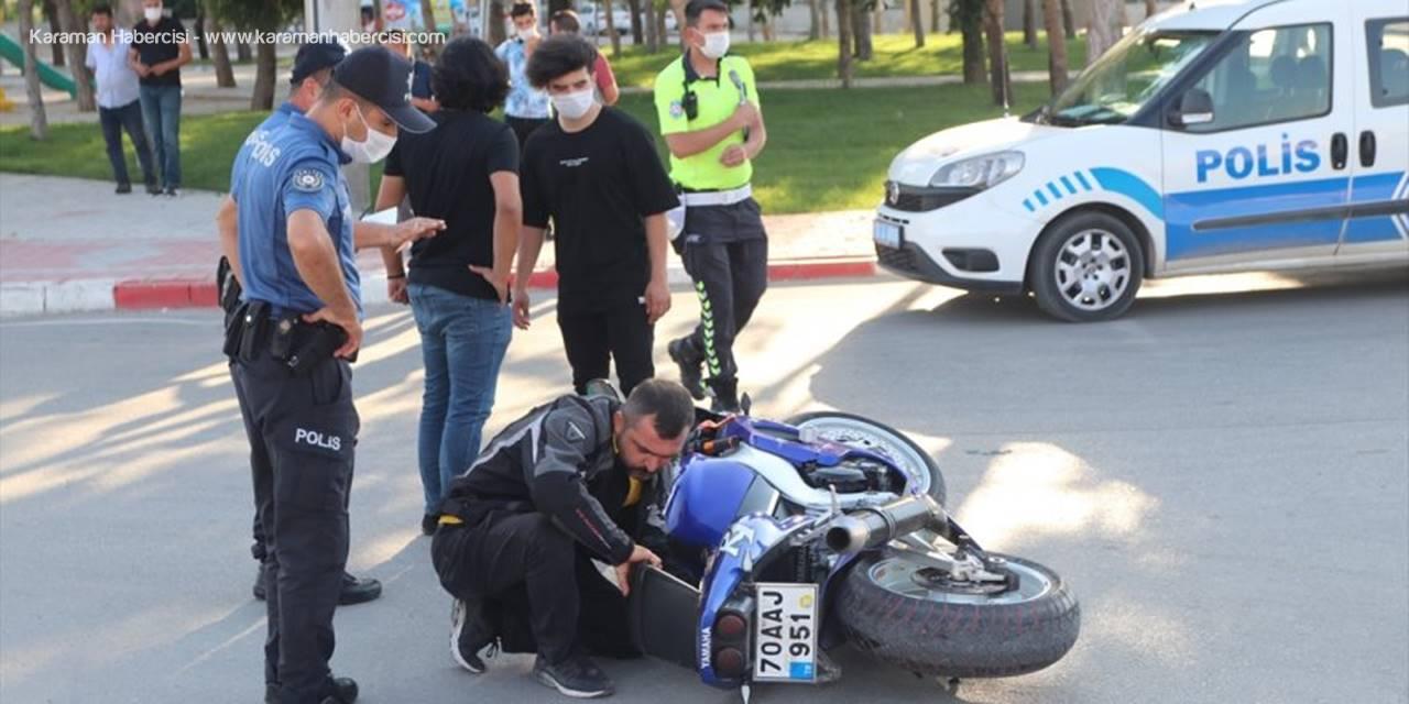 Karaman'da Motosiklet Kazası Ucuz Atlatıldı