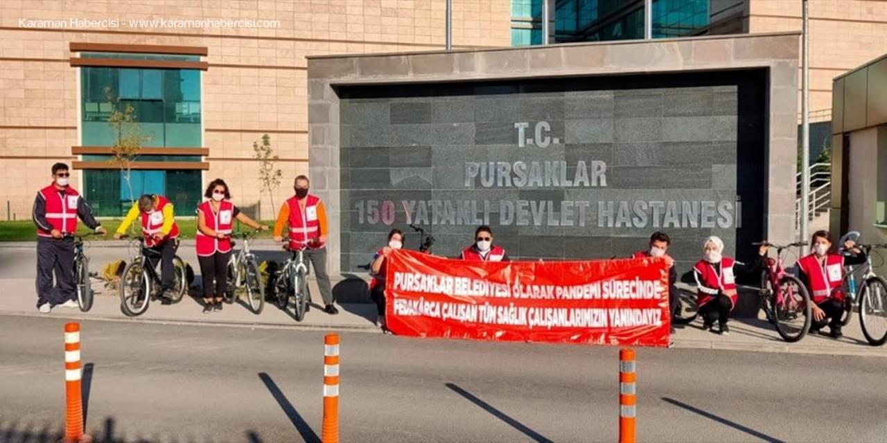 Pursaklar'da Sağlık Çalışanlarına Destek İçin Bisiklet Turu Düzenlendi
