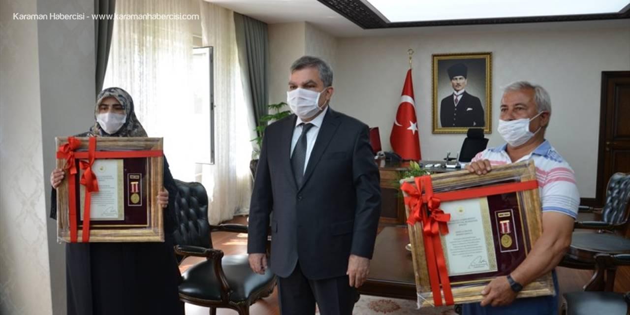 Karaman'da İki Şehit Ailesine Devlet Övünç Madalyası Ve Beratı Verildi