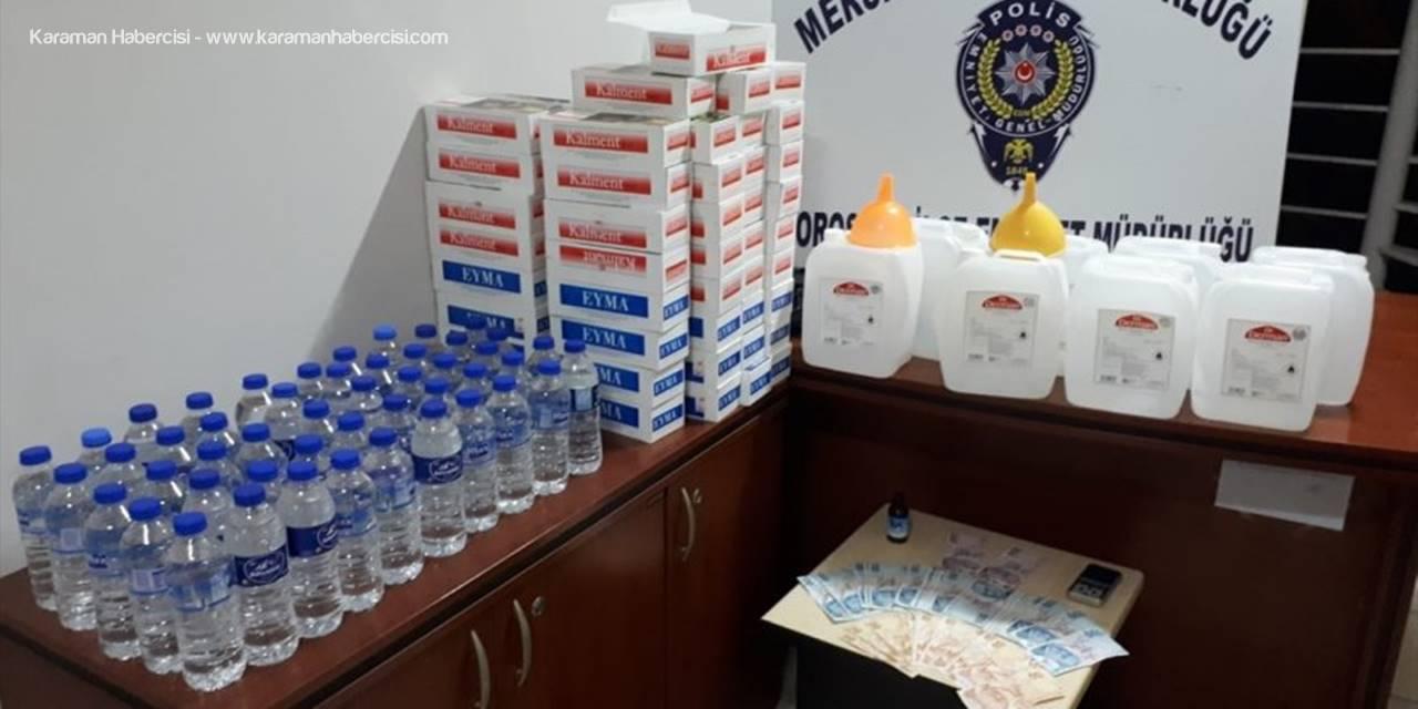 Mersin'de Evinde Sahte İçki Üreten Şüpheli Yakalandı