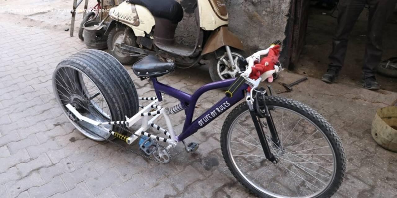 Niğde'de Otomobil Lastiği Takılan Bisiklet İlgi Görüyor