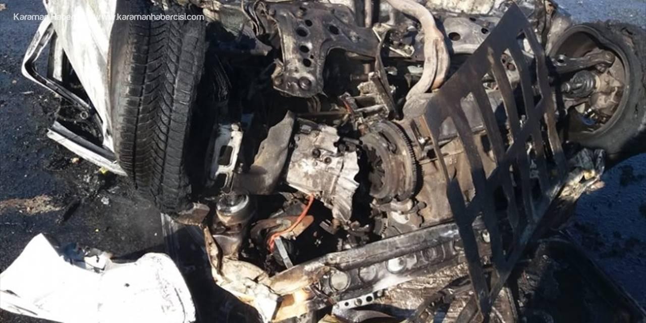 Konya'da Devrilerek Alev Alan Otomobilin Sürücüsü Yaralandı