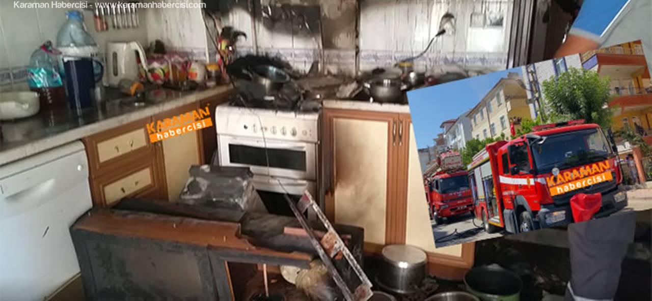 Karaman'daki Yangın Apartmanı Sokağa Döktü