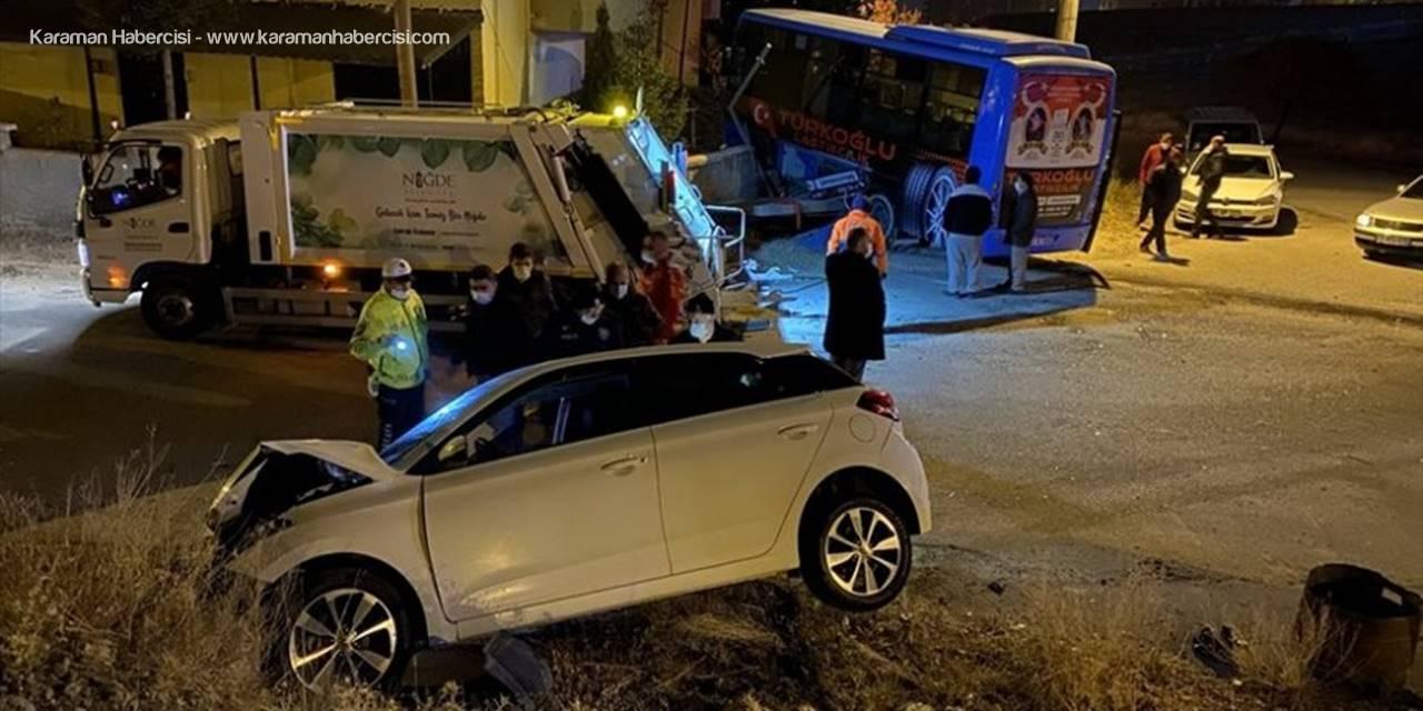 Niğde'de Halk Otobüsü İle Otomobil Çarpıştı: 2 Yaralı