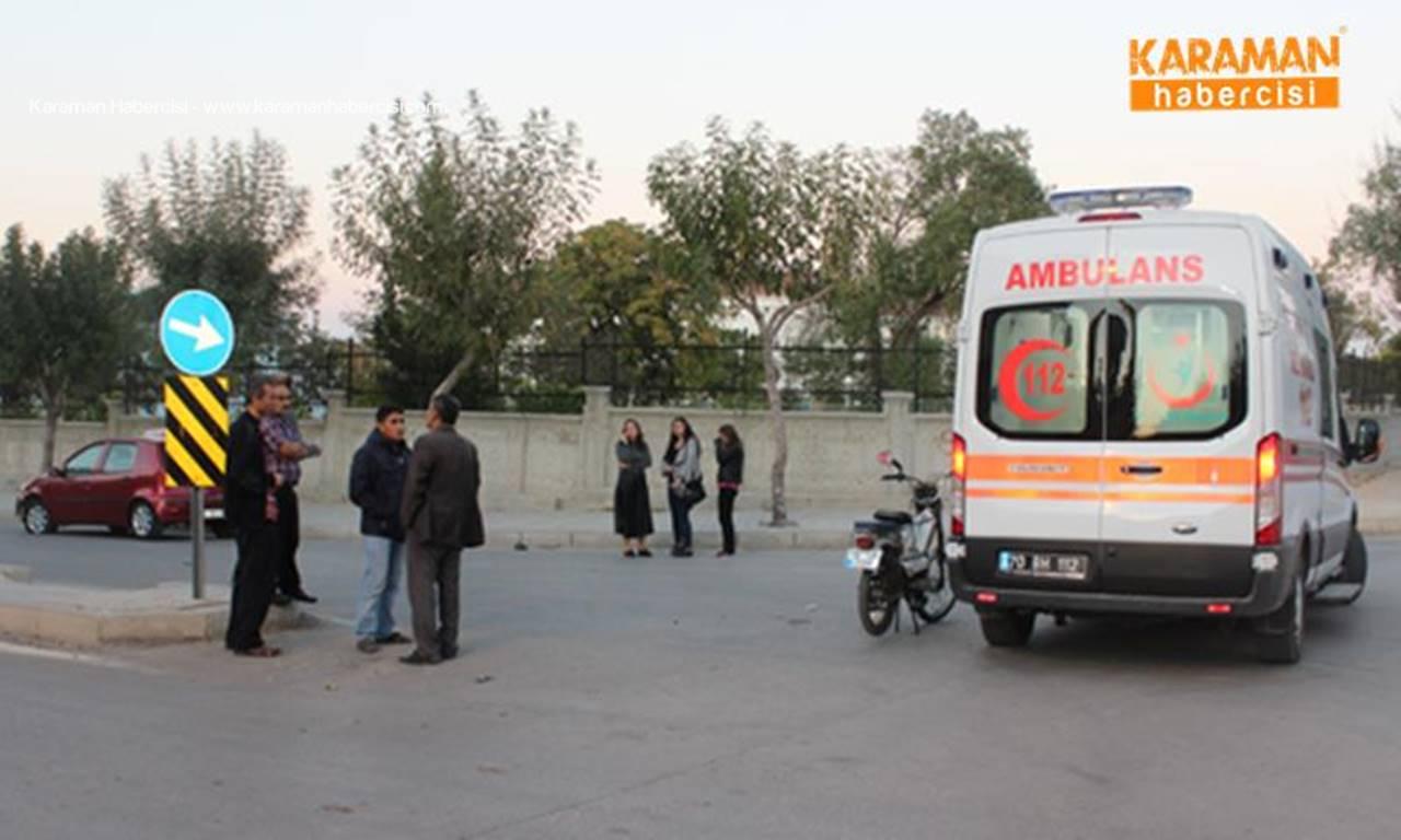 Karaman'da otomobil sürücüsü motosikleti altına aldı