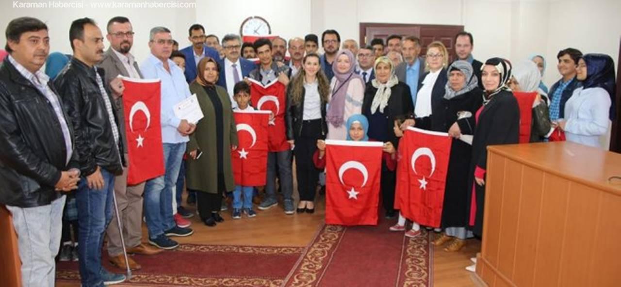 Karaman'da Türkçe Öğrenen Mülteciler Sertifikalarını Aldı