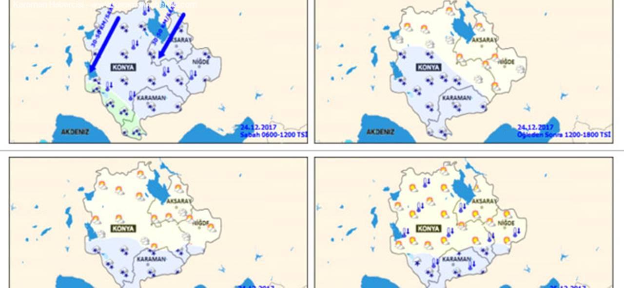 Konya, Karaman, Aksaray ve Niğde İçin Hava Durumu