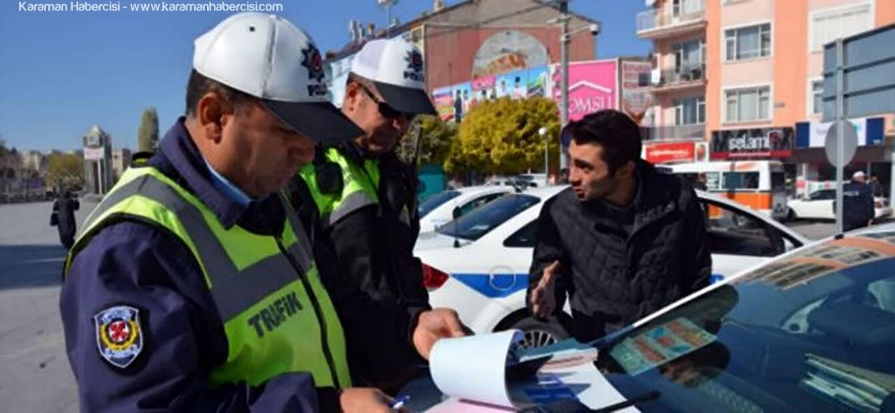 Trafik Ekipleri Karaman'da Plakaları Denetledi