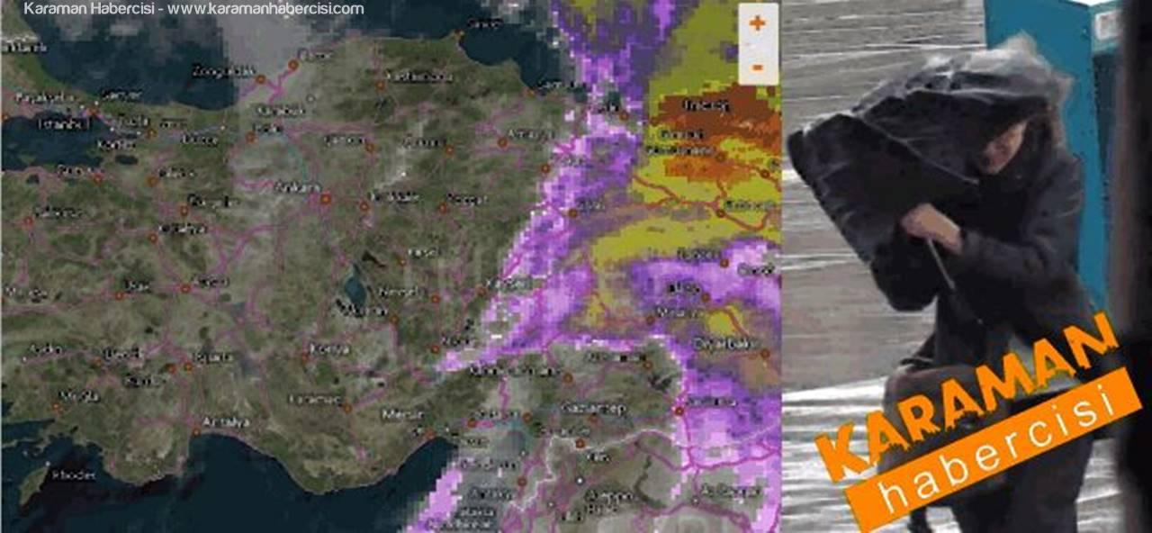 Karaman, Konya, Aksaray, Niğde İlleri İçin Fırtına ve Yağış Uyarısı