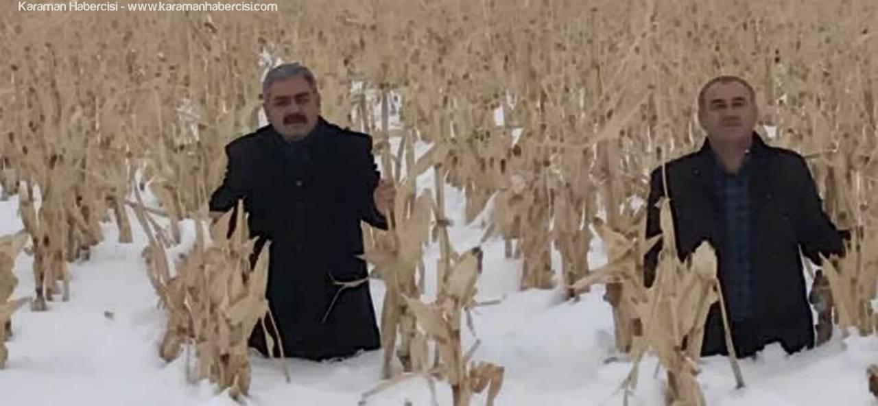 Karaman'da Kar Çiftçiyi Mutlu Edecek Gibi