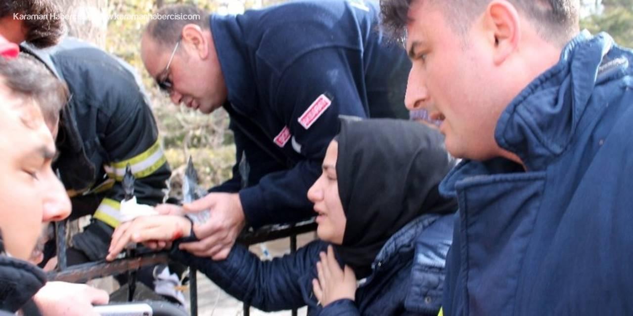 Aksaray'da Duvardan Atlamak İsterken Eli Demire Saplandı