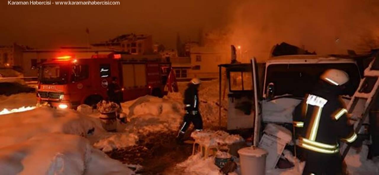 Karaman'da Köfte Arabası Yandı