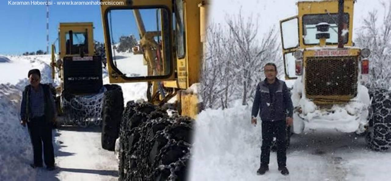 Kardan Kapanan Köy Yollarında Çalışmalar Devam Ediyor