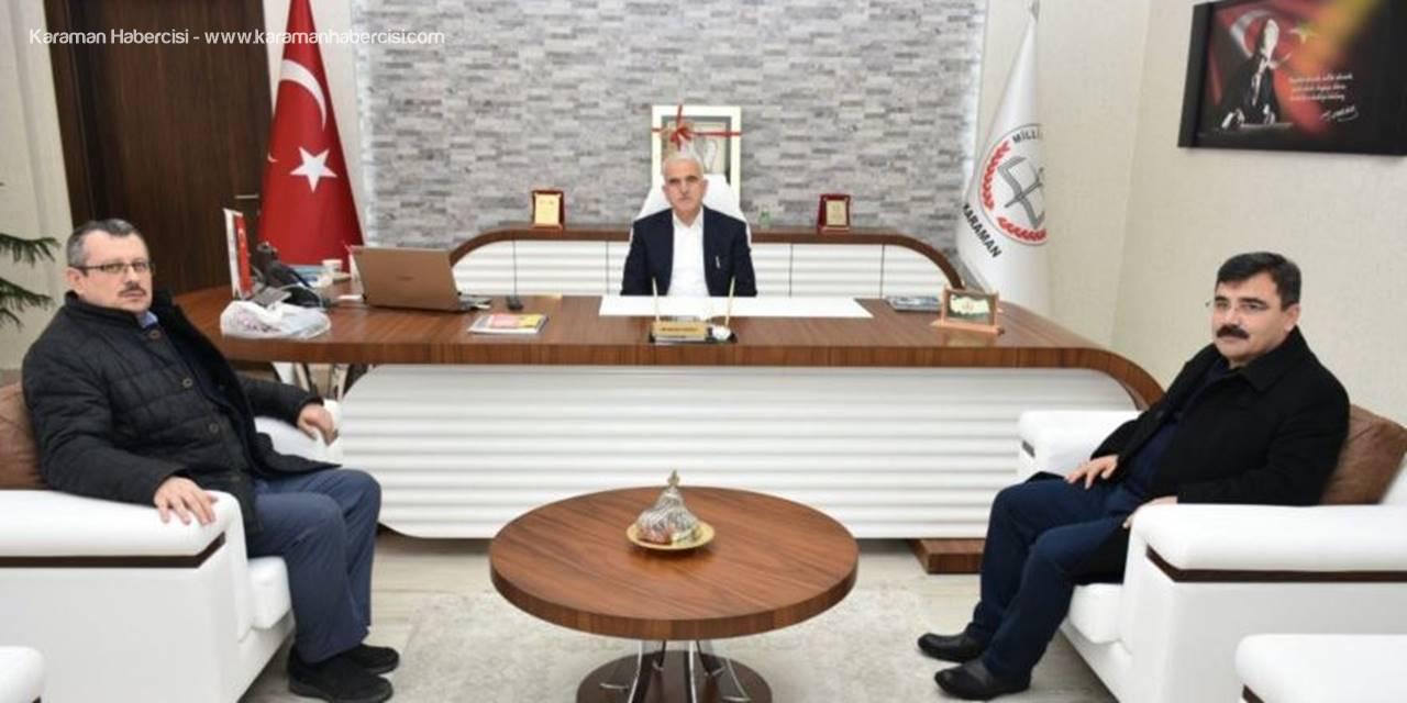 Prof. Dr. Fikret Karapınar ile Prof. Dr. Muhammed Tasa'da Karaman İl Milli Eğitim Müdürü Mevlüt Kuntoğlu'na Ziyaret
