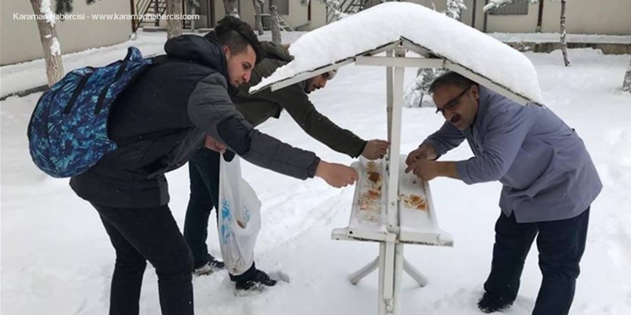 Karaman'da Öğrenciler Soğuk ve Karlı Havada yiyecek Bulamayan Kuşlar İçin Seferber Oldular