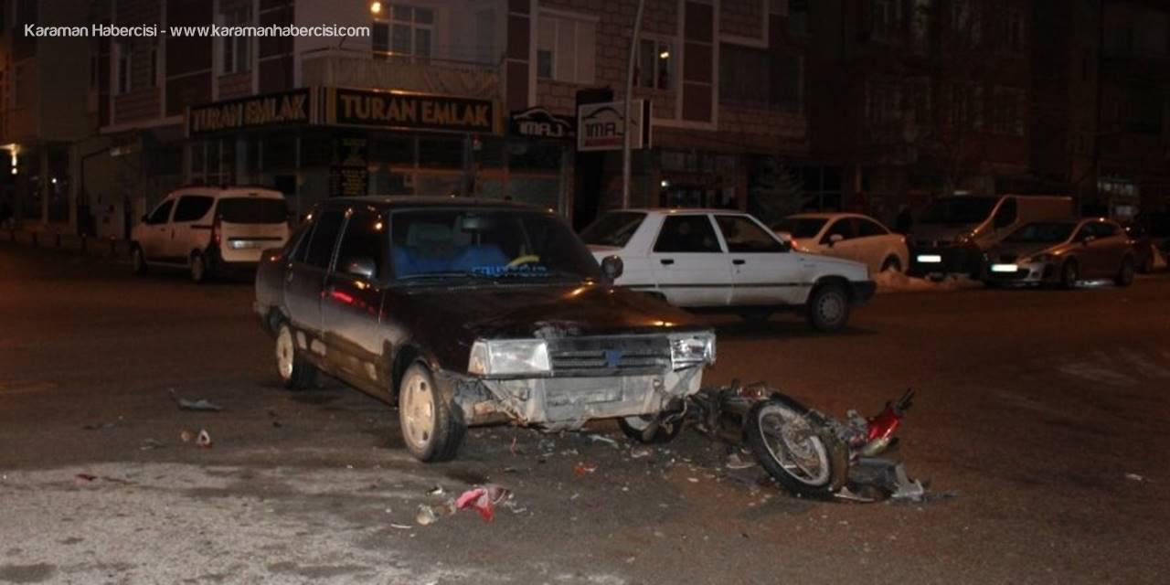 Karaman'da otomobil ile elektrikli bisiklet çarpıştı