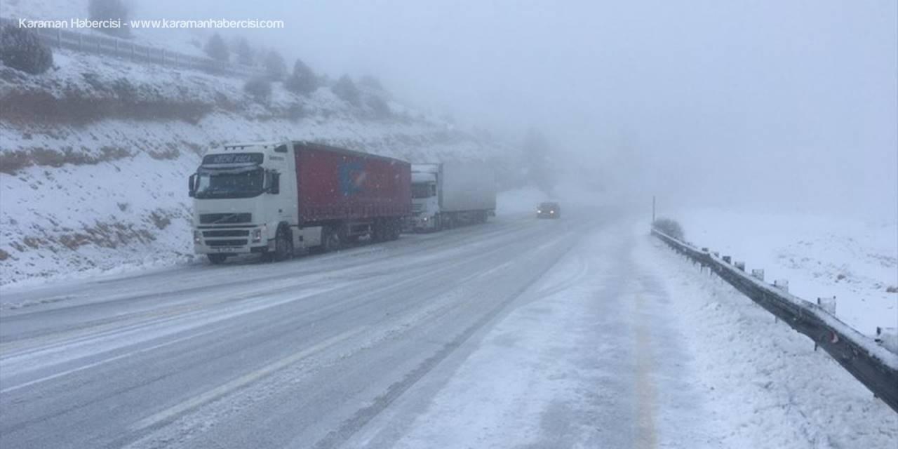 Karaman-Mersin Kara Yolunda Kar Yağışı