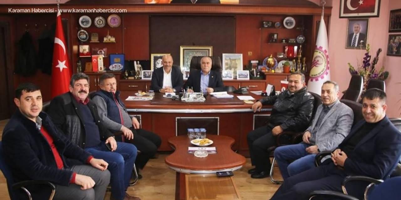 Belediye Başkanı Ertuğrul Çalışkan Karaman ESOB ve Oda Başkanlarıyla Bir Araya Geldi