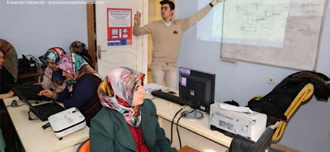 Karaman'da Bayanlar İçin Bilgisayar Eğitimleri Başladı