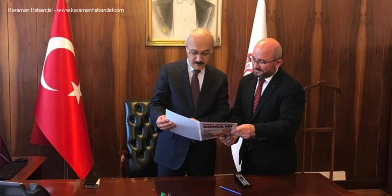Lütfi Elvan'a Karaman'dan İlk Ziyaret AK Parti Belediye Başkan Adayı Sami Şahin'den